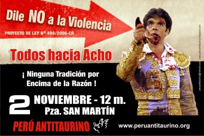Say hello to my little friend: Anti-bullfighting posters in Lima recall Pacino's Tony Montana