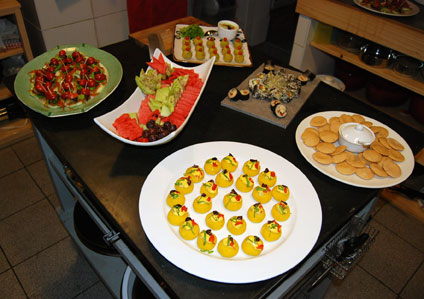 Appetizers ready in the kitchen of AlmaZen, opening night
